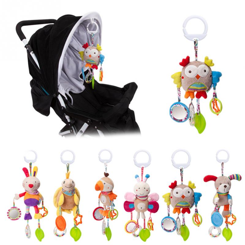 Cartoon Bird Baby Bed Stroller Hanging Rattles Newborn Puppet Rabbit Teether Appease Plush Toy With BB Bell Paper Rubber Rings
