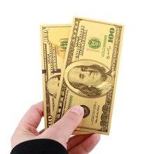 2 шт./компл. золото Высокое качество сувенир 24 к позолоченные долларов украшения 100 доллар купюры Реалистичная подделка деньги Dorpshipping