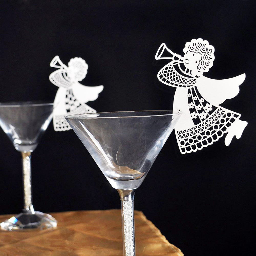 50pcs new flying angel laser cut diy wine glass cup paper for Angel decoration