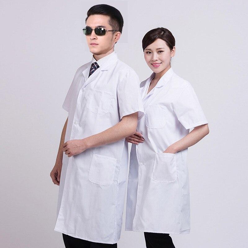 Summer Unisex White Lab Coat Short Sleeve Pockets Uniform Work Wear Doctor White Coats Nurse Clothing Female Hospital Work Wear