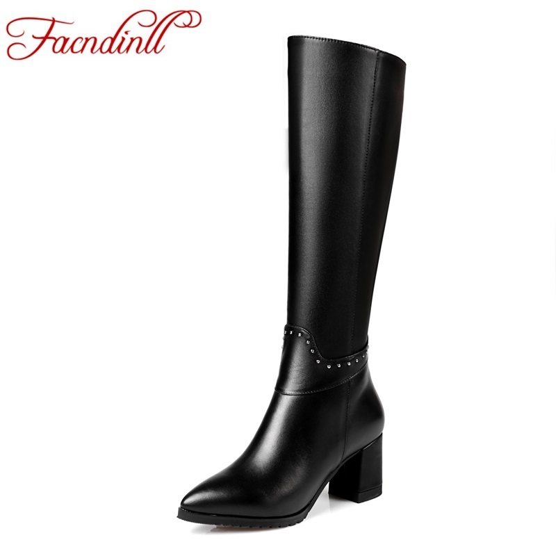 FACNDINLL new fashion genuine leather women knee high boots black high heel pointed toe zipper shoes woman long boots size 34-45