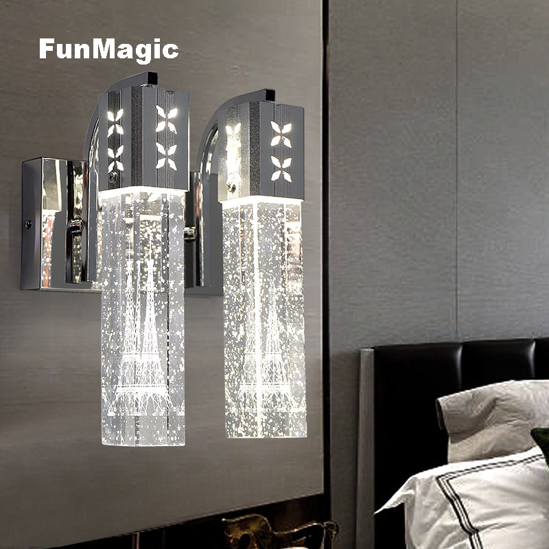 Post-modern Eiffel Tower Crystal LED Wall Lamp Living Room Bedroom Bedside Light Aisle Corridor Lighting Wall Mounted Sconces crystal flower pendant light modern lighting living room lamp bedroom lamp aisle lighting
