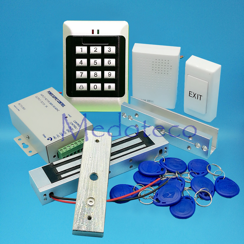 Full 125khz Rfid Card Glass Door Access Control System Kit EM Card Access Controller +350lbs Magnetic Lock + U Bracket full no keypad 125khz rfid card door access control system kit em id card access controller 350lbs magnetic lock zl bracket