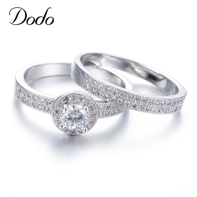 Hot Women Wedding Ring Sets White Gold Color Rings Engagement Bague For  Women Couple Rings For