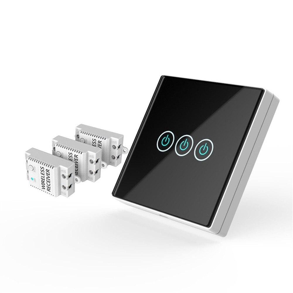 HIPERDEAL 3 Interrupteur Mural Capacitif Main Commutateur Sans Fil Télécommande Verre Maison Intelligente 4.16