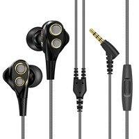 Brand New Dual Dynamic Balanced Hifi Bass Earphone With Mic Noise Reduction Volume Control Hifi Headset