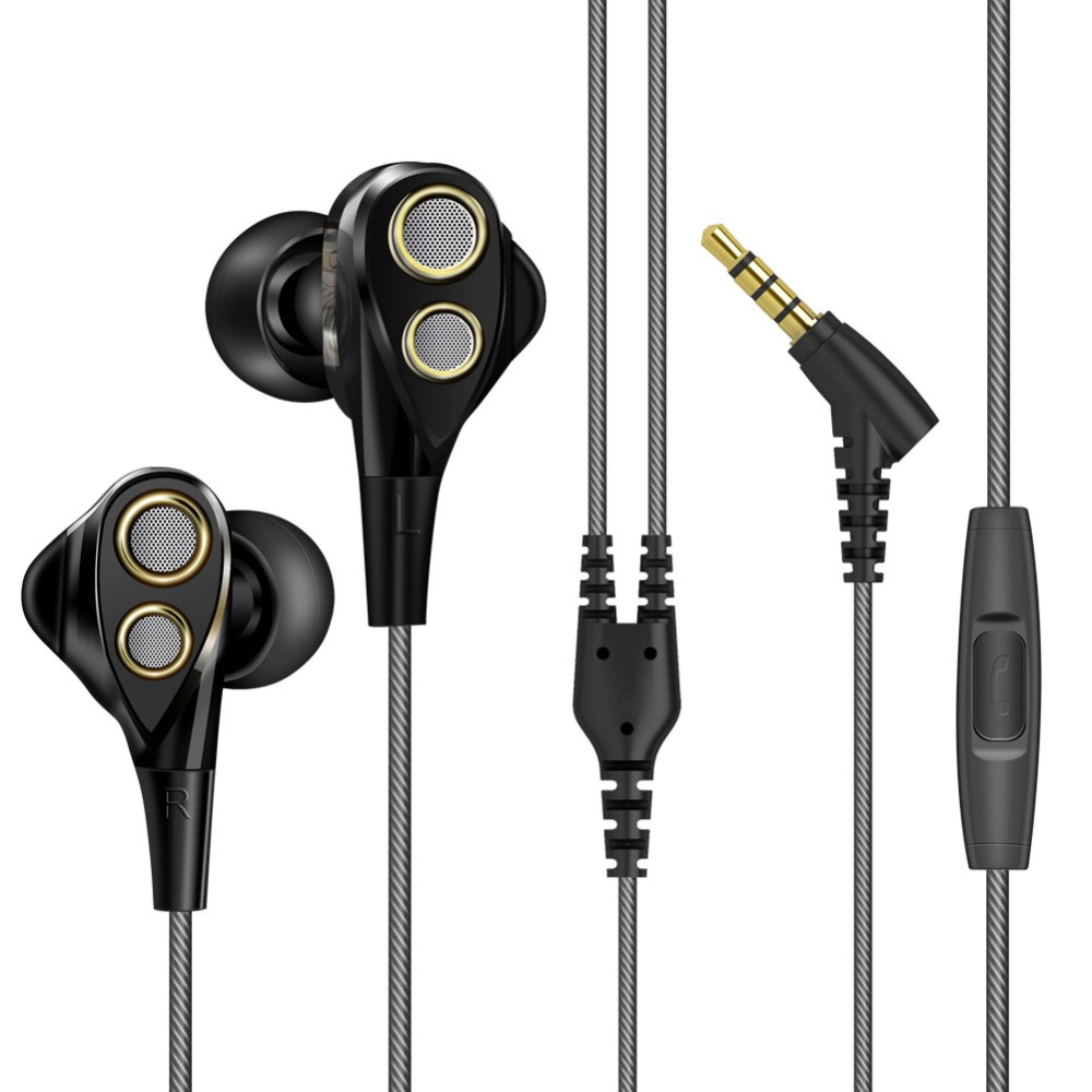 Brand New Dual Dynamic Balanced Hifi Bass Earphone with Mic Noise Reduction Volume Control Hifi Headset for iPhone Android assembled jv15 hifi pga2311pa remote volume board with dual display