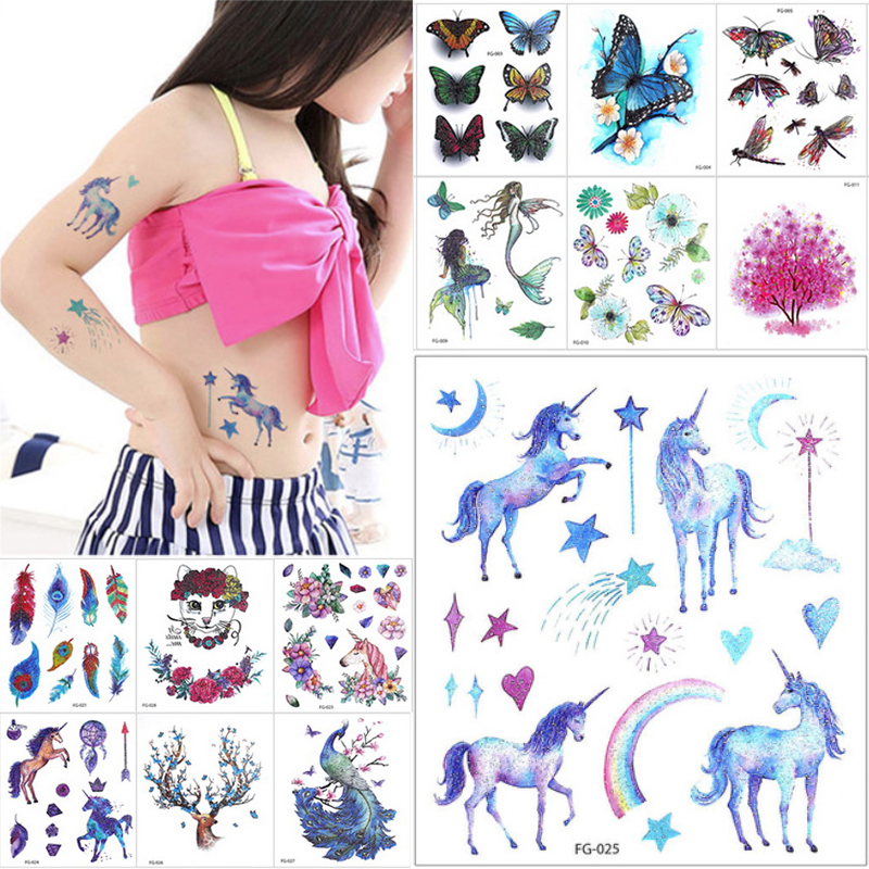 1 Sheet New Cartoon Animal Flash Temporary Tattoo Sticker Decal Elk Unicorn Gradient Rainbow Body Art Children Gift 24 Designs
