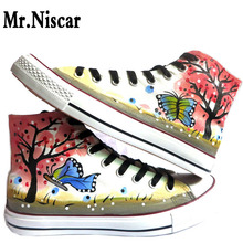 Girls Wosmen Couples Graffiti Hand Painted Canvas Shoes Low Top Style Red Tree and Butterfly Design Female Lovers Casual Shoes