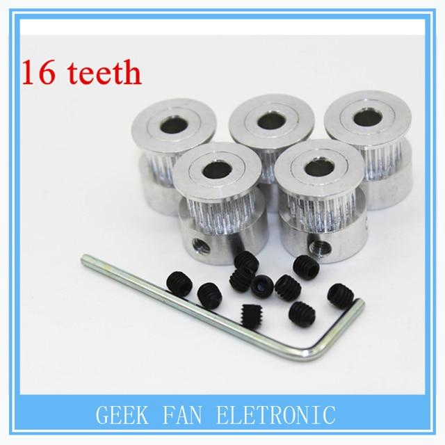 5pcs/Lot GT2 Timing Pulley 16teeth Alumium Bore 5mm fit for GT2 belt Width 6mm A609