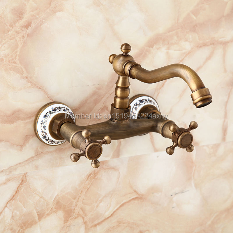 Free Shipping Euro Design Antique Brass with ceramic Wall Mount Kitchen Faucet Mixer Swivel Spout Hot Cold Water tap GI105 china sanitary ware chrome wall mount thermostatic water tap water saver thermostatic shower faucet