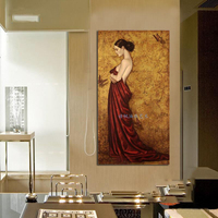 Hand painted portrait oil painting on canvas beautiful lady decorative wall pictures home decoration ready to hang