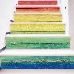 Image 2 - 6 個 3D セラミック幾何タイル床壁のステッカーの自己粘着階段ステッカー Diy ルームの階段装飾ホーム