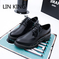 LIN KING Vintage Retro Women Casual Shoes Solid PU Leather Lace Up Bullock Shoes British Style Low Top Square Heels Simple Shoes
