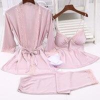 Pyjamas Women Faux Silk like Pajama Sets 3pcs Sexy Lace Suits with Chest Pads Straps Camisole Long Pants pijamas de las mujeres