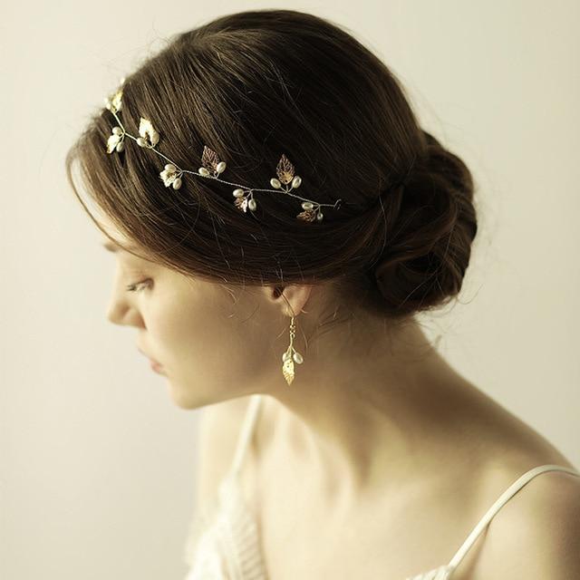 exquisite golden leaf tiara pearls wedding hair vine headband women crown bridal headpiece high quality copper