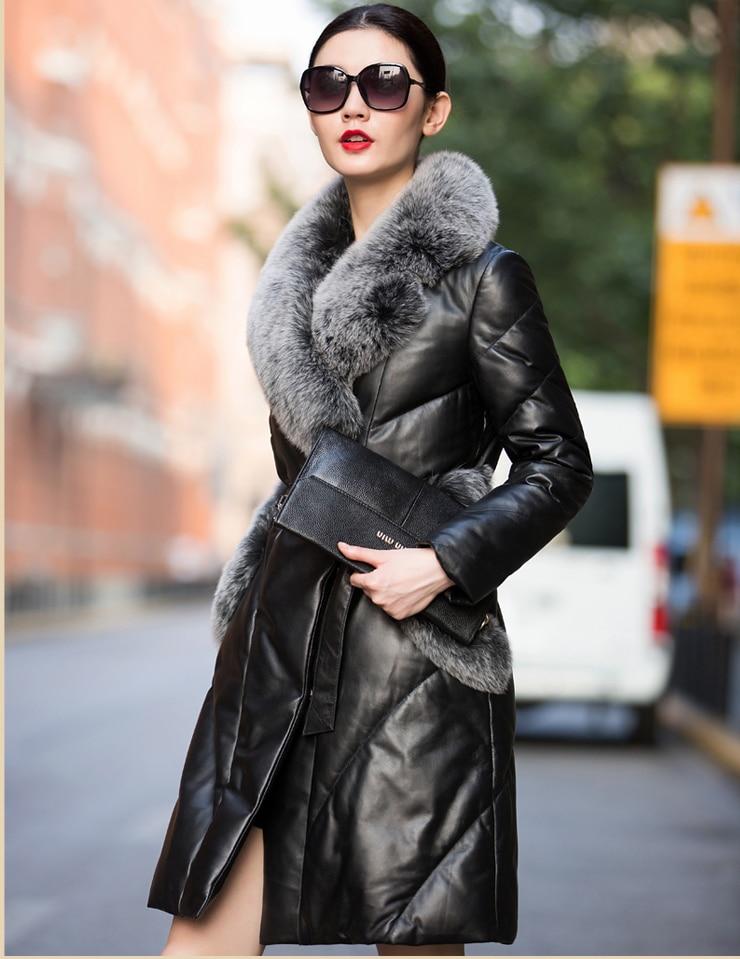 New fashion 2018 women duck   down     coat   genuine sheepskin leather jacket with large natural real fox fur collar black plus xxxxxl