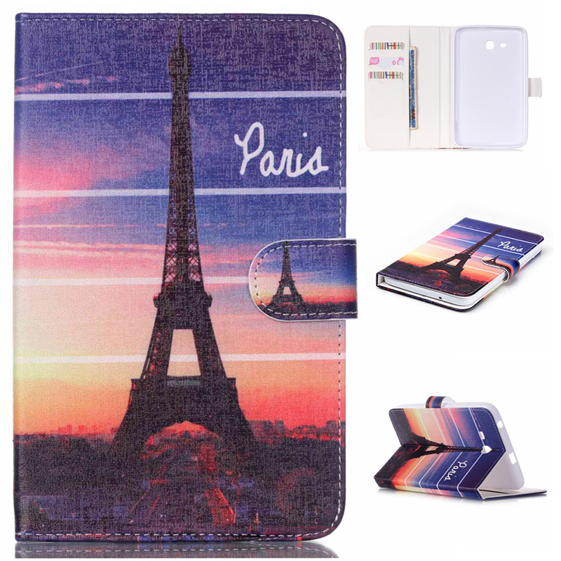 Tablet PU Leather Wallet Cases For Samsung Galaxy Tab 3 Lite 7.0 T110 T111 T113 T116 Covers Holster Bags Shell Housing Shield
