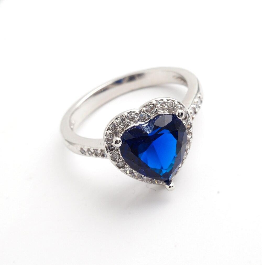 Yunkingdom love heart design fashion romantic ring dark blue cz crystal Rings for Women costume jewelry X0030 1