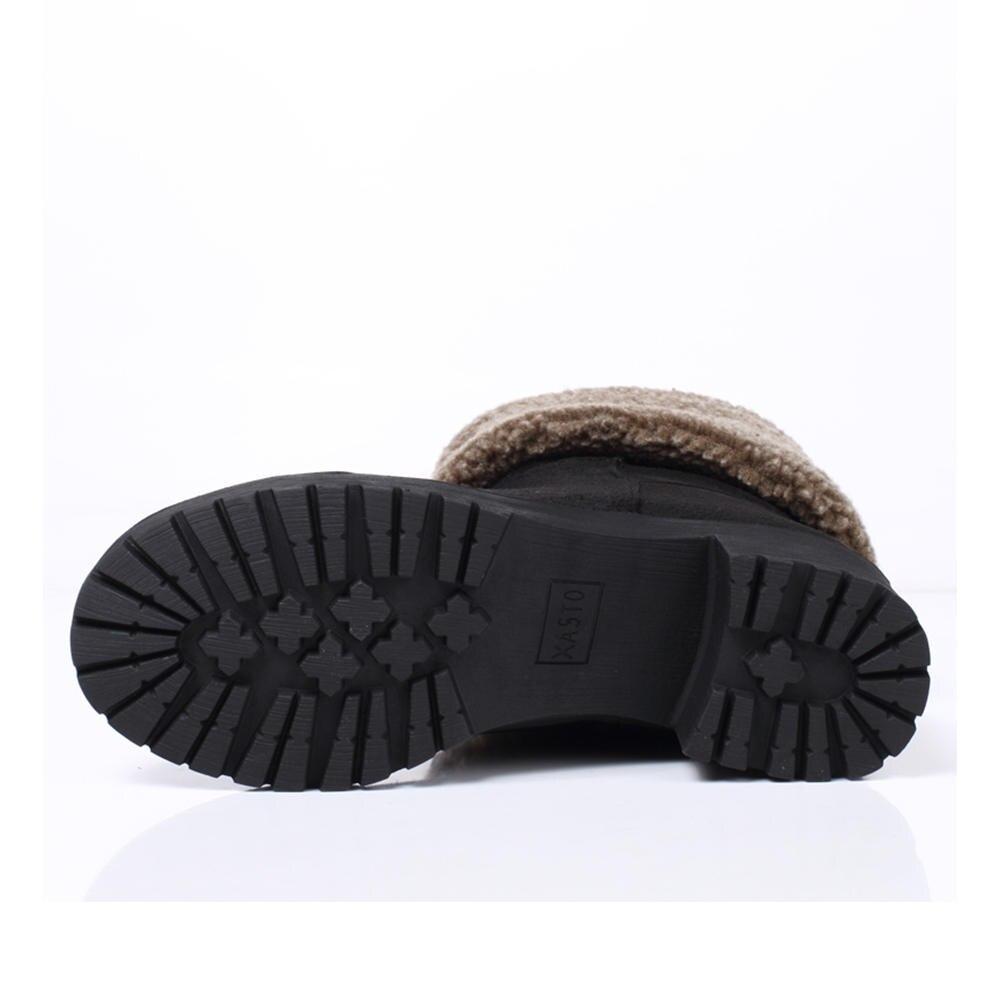 Qualité Doratasia Troupeau Grande Noir Plate Femme Bottes Solide Bout Noir gris forme Marque Top Rond Hiver 33 Casual Nouveau khaki Taille 43 Chaussures n0O8kwP