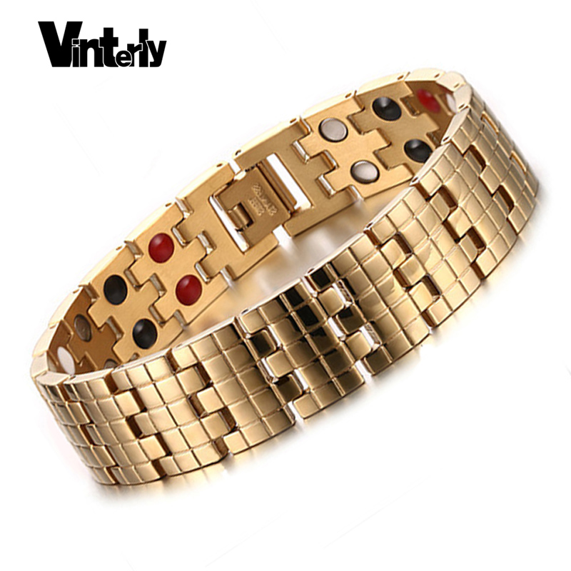 Vinterly Gold Color Men Bracelets Health Bio Magnetic Germanium Stainless Steel Bracelet Bangle for Men Designs Chaine Link