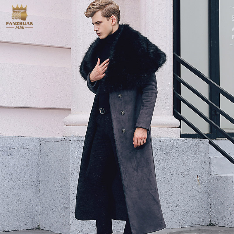 Free Shipping fanzhuan New 2017 fashion male Fur coat male winter long style men 39 s fur collar coat plus velvet thick 710108 man in Faux Leather Coats from Men 39 s Clothing