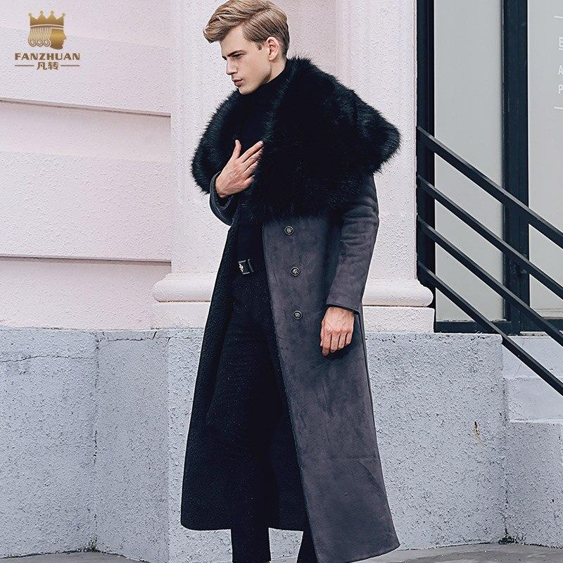 Livraison Gratuite fanzhuan Nouveau 2017 mode hommes manteau De Fourrure hommes hiver long style col fourrure homme manteau plus velours épais 710108 homme