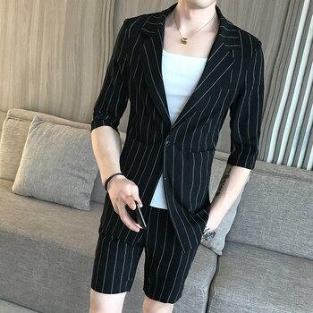 New Korean High Quality Suit Casual Striped Shorts Suit Set Wedding Dress Suit Super Handsome Mens Shorts Suit