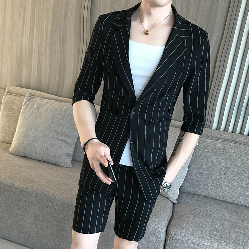New Korean High Quality <font><b>Suit</b></font> Casual Striped <font><b>Shorts</b></font> <font><b>Suit</b></font> Set Wedding Dress <font><b>Suit</b></font> Super Handsome <font><b>Mens</b></font> <font><b>Shorts</b></font> <font><b>Suit</b></font> image