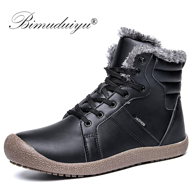 ab12c014ee0 US $29.89 49% OFF|BIMUDUIYU Designer Men Winter Boots Rubber Antiskid Ankle  Boots Waterproof Warm Fur Snow Boots High Quality Pu Leather Boots -in ...