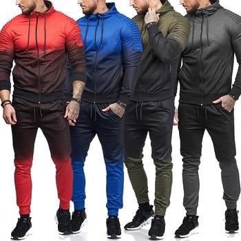Sweatshirt Set Men Sweat New 2018 Brand Autumn Winter  2PCS Stand Collar Patchwork Casual Hoodie Men