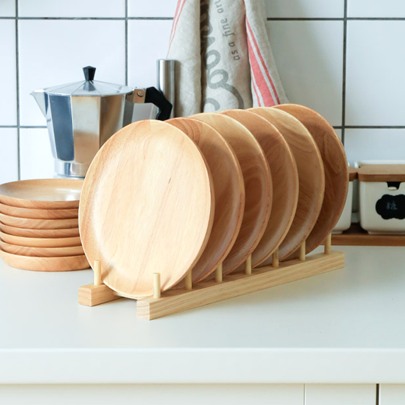 Set of 2 Round Wooden Plates 20cm Rubber Wood Dishes Cake Plate Snack Dessert Serving Tray Wooden Utensils Tableware Gift (6)