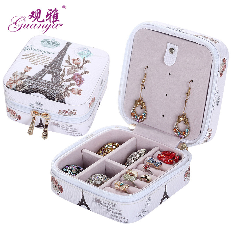 2018 Classical High Grade Fashion Printed Leather Jewelry Box Protable Jewelry Casket 7 Color Love Gift Choice Cosmetic Box