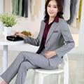 2016 slim ropa de trabajo elegante mujeres chaqueta pantalón 2 unidades set moda OL formal de las mujeres más el tamaño de oficina de negocios trajes pantalón femenino