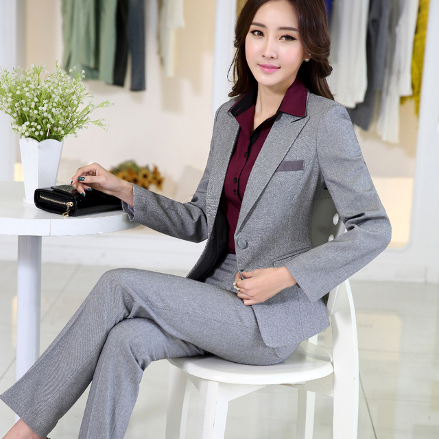 a1afd880c20f 2016 slim work wear elegant women pant jacket 2 piece set OL fashion women s  formal plus