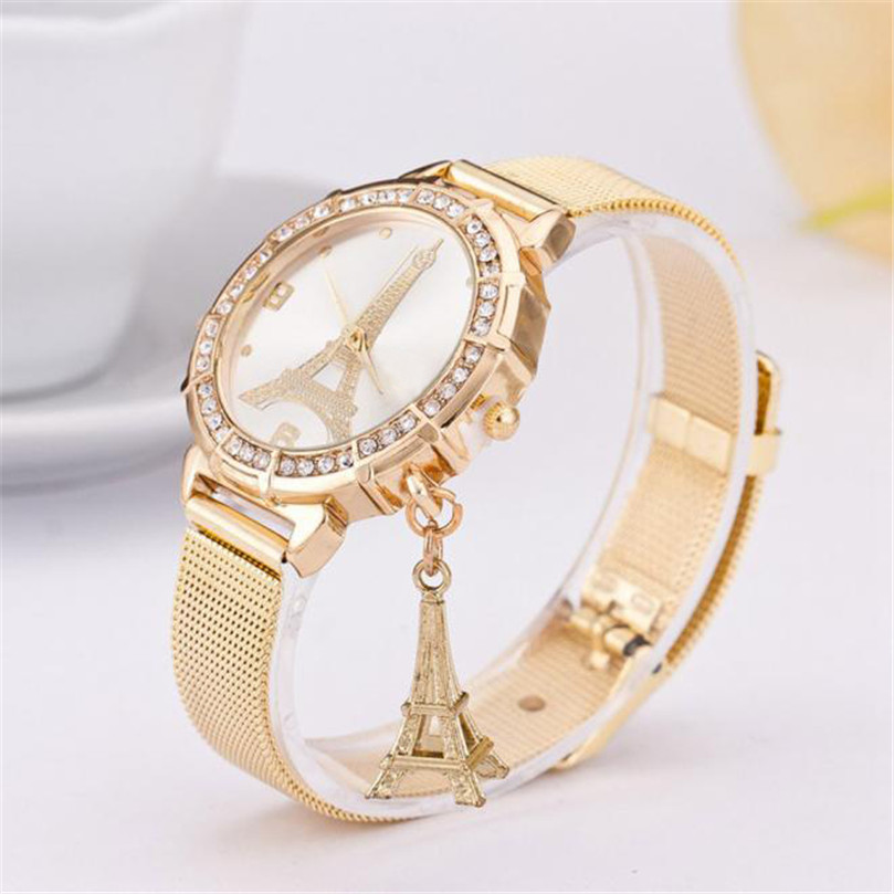 women 's Watch  Ladies Tower Gold Stainless Steel Mesh Band Luxury  Wrist Watch Gift   relogio  dropshipping free shipping #4.7  high quality women s watch women ladies silver stainless steel mesh band wrist watch top gifts dropshipping m18