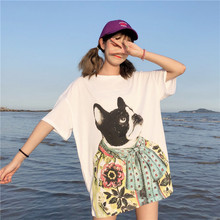 Funny Cat Print T Shirts Women 2019 Summer Pure Cotton Short Sleeve Womens Tshirts Casual Tee Shirt Femme White T-shirt Tops цена