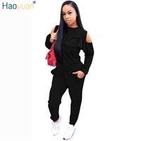HAOYUAN 2 Piece Set Women 2018 Autumn Winter Sweatsuit Long Sleeve Cold Shoulder Top+Pants Track Suits Casual Sexy Tracksuits
