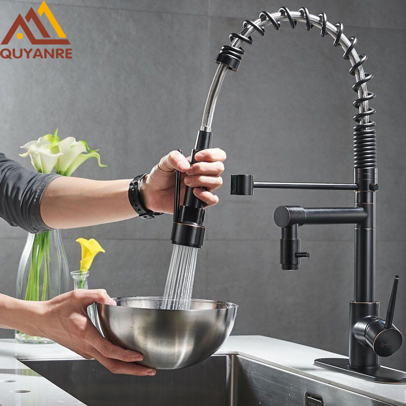 Blackend Spring Kitchen Faucet Pull out Side Sprayer Dual Spout Single Handle Mixer Tap Sink Faucet 360 Rotation Kitchen Faucets hpb multi function pull out lifting bathroom faucet brass bathroom sink mixer dual pattern spout 360 rotation design hp3048