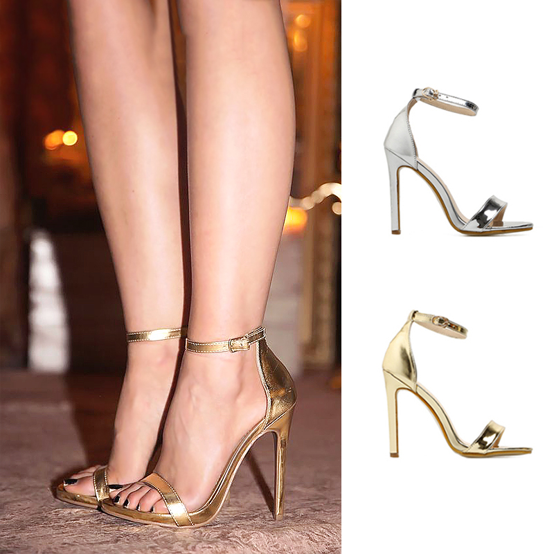 Sexy Women Pumps Wedding Shoes Peep Toe Stiletto Classic Pumps High Heels Shoes Woman Sandals Silver Gold Heels Plus Size 35-43