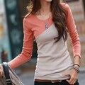 Poleras de Mujer 2017 Ocasional T Shirt Roupas Femininas Longo Retalhos de Algodão de manga Camiseta T-Shirt Kawaii Rosa Plus Size Mulheres topos