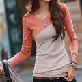 Poleras de mujer 2017 Camiseta Ocasional de Las Mujeres Ropa de Largo Kawaii Patchwork Camiseta de Algodón de manga T-Shirt Pink Tallas grandes Para Mujer Tops