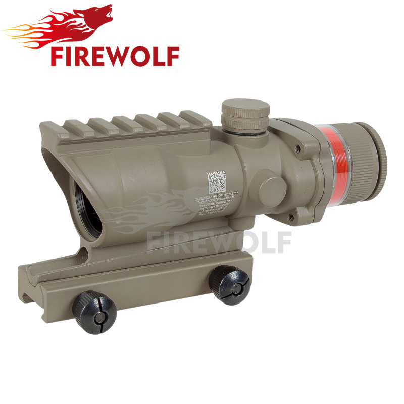 2017 tan color Tactical Good acog style 4x32 rifle scope red dot Red Optical fiber 20mm Rail