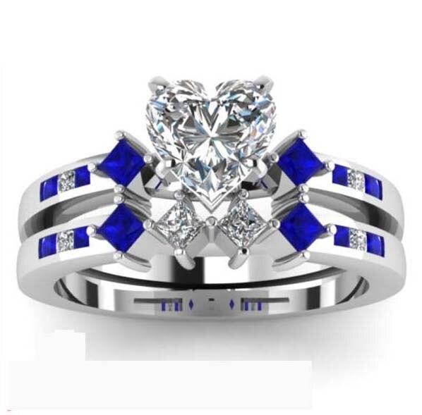 Big Heart 2 5ct Blue Sapphire Engagement Wedding Ring For Women