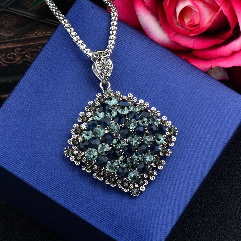 SINLEERY Vintage Fuld Mørkeblå Rhinestone Big Vedhæng Lang - Mode smykker - Foto 2