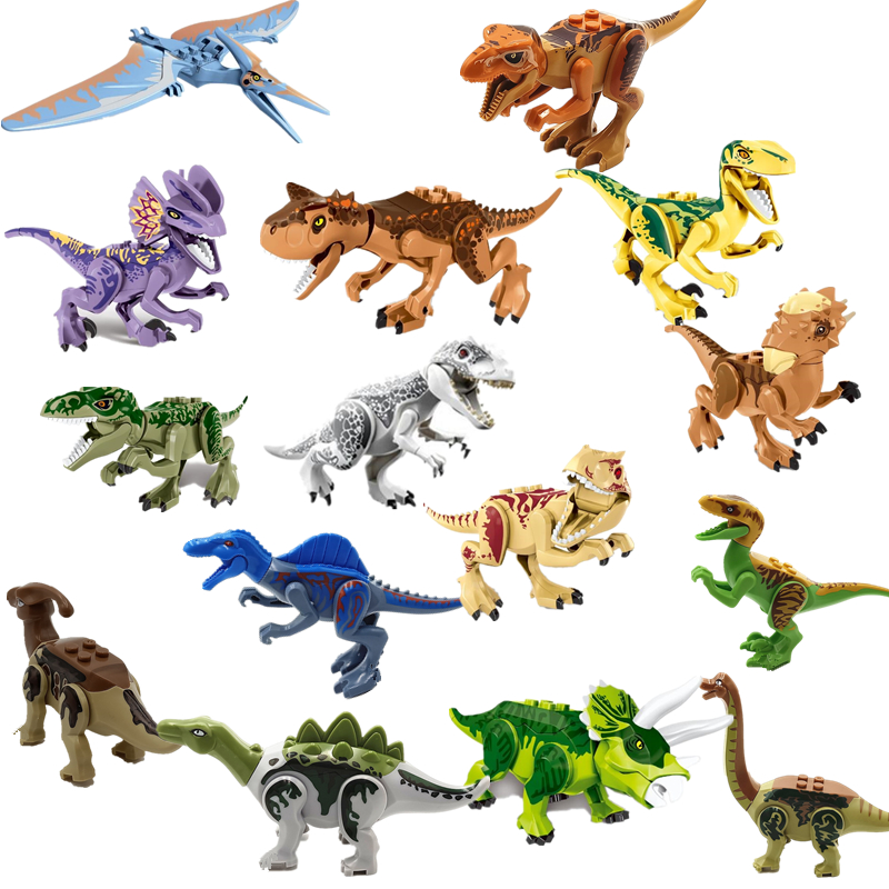 New Jurassic Dinosaurs World Park Velociraptor Tyrannosaurus Rex Carnotaurus Stygimoloch Building Blocks Set Kids Toys Juguetes jurassic world park tyrannosaurus rex velociraptor dinosaur model toys animal plastic pvc action figure toy for kids gifts