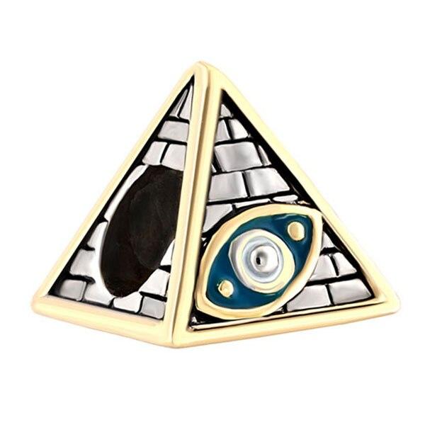 Free shipping 1pcs European Atique Masonic Evil Eye on Egyptian Pryamids Beads Charms Fits Pandora Charm Bracelets & Necklace