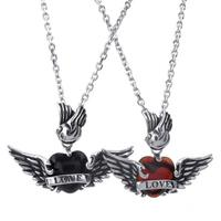 35 48mm Romantic Fashion Stainless Steel Lovers Pendant Necklaces Wings Heart LOVE Couples Necklace With Chain