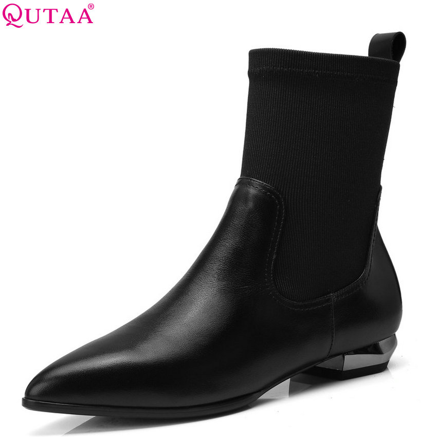 QUTAA 2019 Pointed Toe Genuine Leather+pu Fashion Women Mid Calf Boots All Match Platform Winter Shoes Women Boots Size 34-42 morazora pointed toe genuine sheepskin leather mid calf boots for women winter large size 34 43 lace up fashion elegant