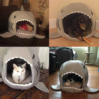 Shark Pet Bed Washable Shark Pet House Cave Bed for Small Medium Dog Cat with Removable Cushion and Waterproof Bottom
